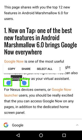 How to select, copy and paste text in Android Marshmallow