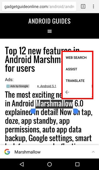 use advanced features in Android Marshmallow text selection