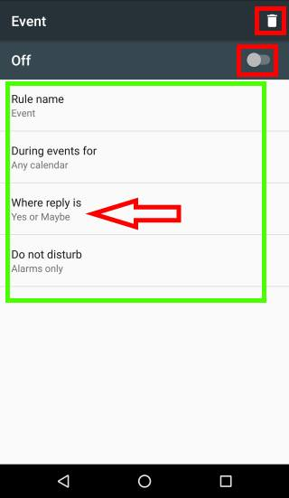 configure events rules for Do not Disturb in Android Marshmallow