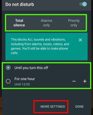enable (turn on) and disable (turn off) Do not Disturb (DnD) in Android Marshmallow manually