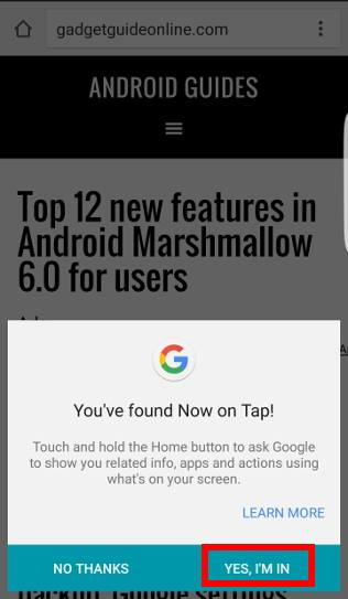enable Now on Tap in Android Marshmallow