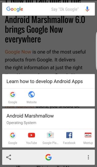 access and use Now on Tap in Android Marshmallow