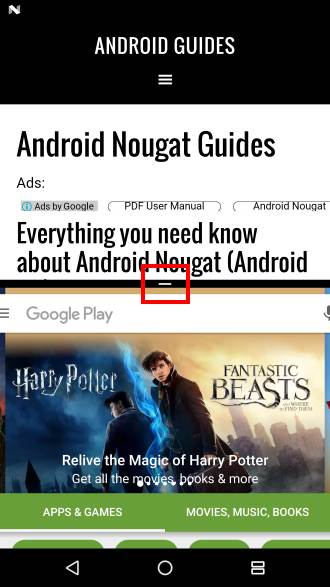 resize screen size in split-screen mode (multi window mode ) in Android Nougat