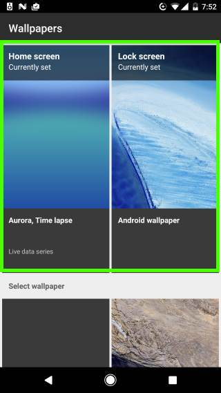 set up Android Nougat lock screen wallpaper (different from home screen wallpaper)
