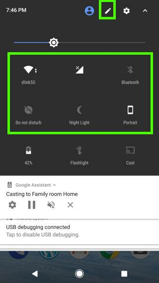 use Android Nougat quick settings bar