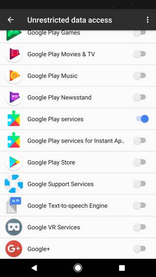 set app exceptions for data saver in Android Nougat