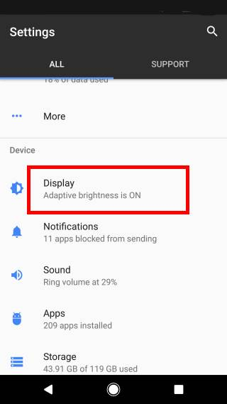 change display size in Android Nougat