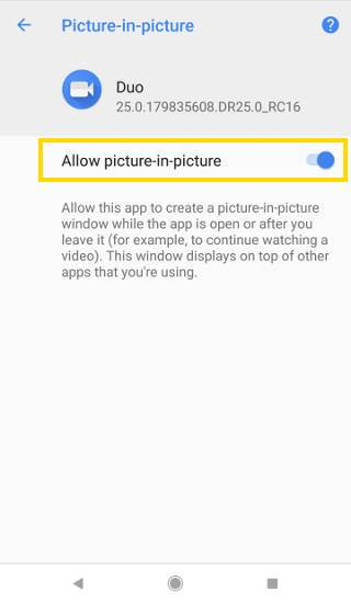 How to grant permission for picture-in-picture (PIP) mode in Android Oreo?