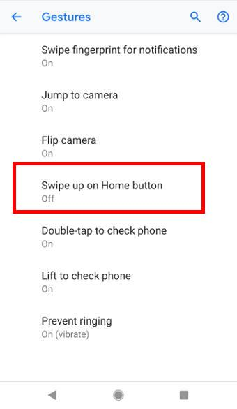 enable (and disable)Android Pie navigation gestures