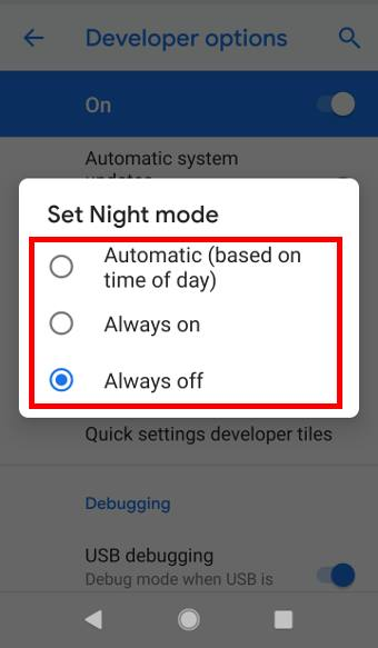 night mode on Android Pie developer options