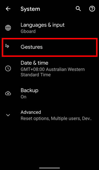 Android 10 System settings page