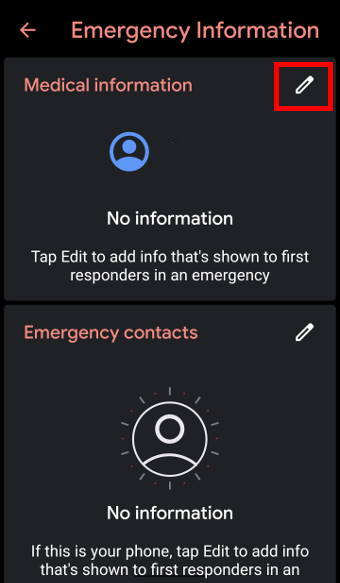 Android 10 Emergency Information