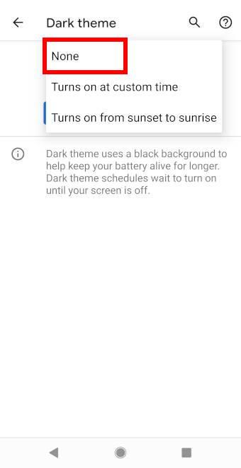 Android 11 Dark theme