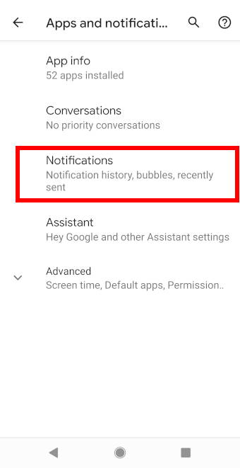 Android 11 Apps and notification