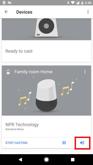use Google Home app to change Google Home volume