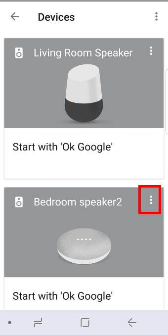 device list page in Google Home app