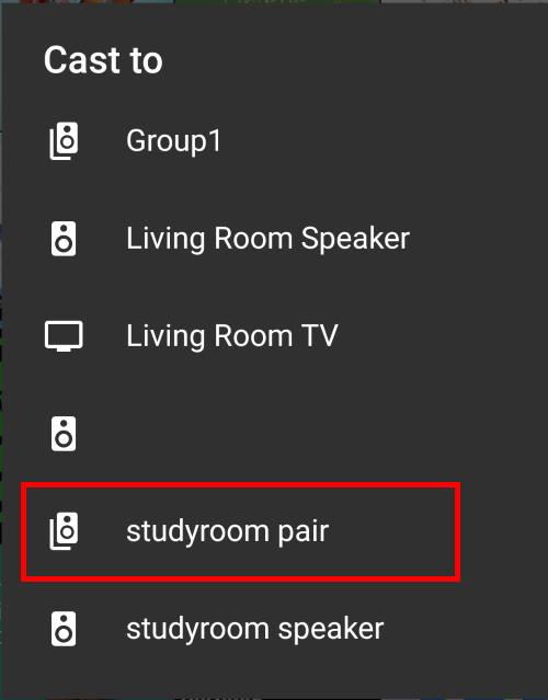cast to Google Home speaker pair