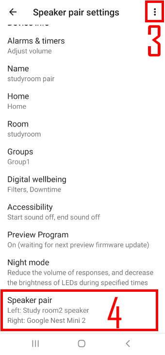 speaker pair settings