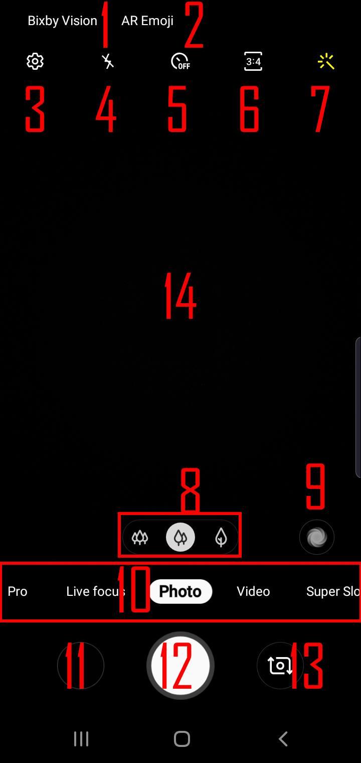 Components of Galaxy S10 camera app
