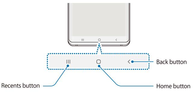 illustration of Galaxy S10 navigation buttons