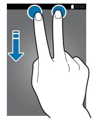 swipe down with two fingers to access quick setting buttons