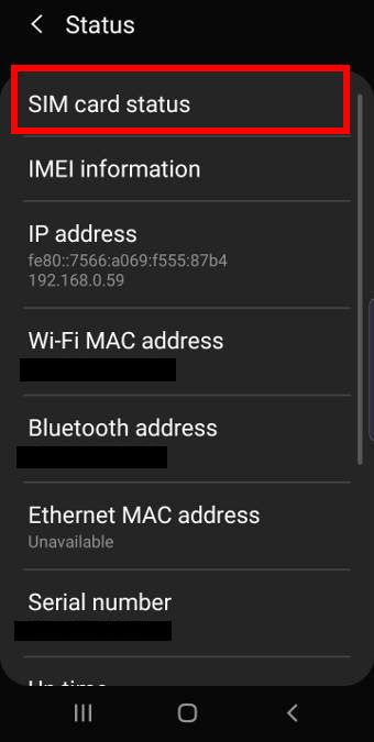 check mobile network connection type and signal strength in Galaxy S10