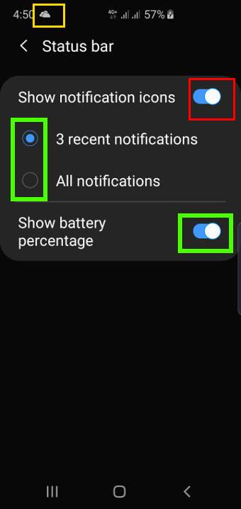turn off and customize the notification icons in the Galaxy S10 status bar