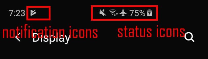 Galaxy S10 status icons and notification icons