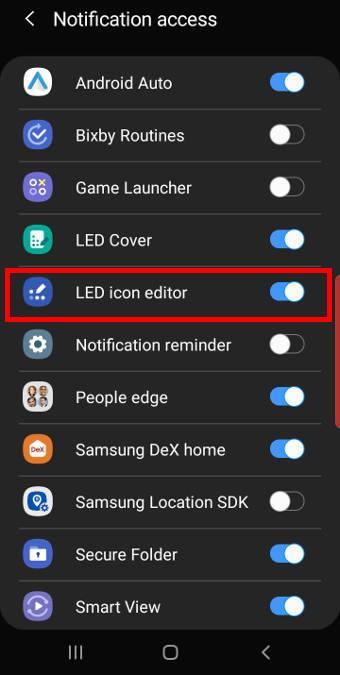 Galaxy S10 notification access settings