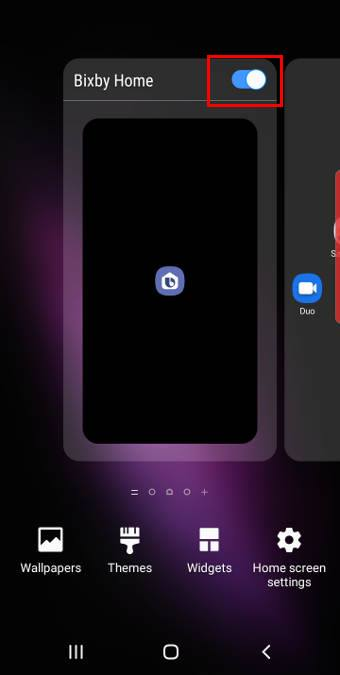 show Bixby home from Galaxy S10 Home Screen