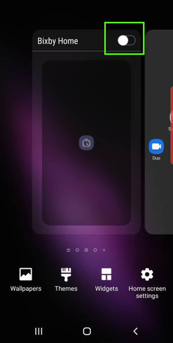 hide Bixby home from Galaxy S10 Home Screen