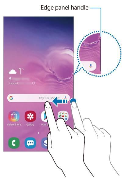 access the Galaxy S10 edge screen