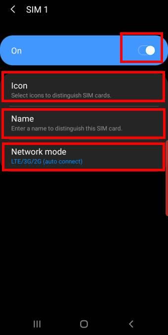SIM 1 settings