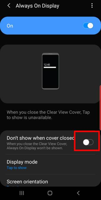 use Galaxy S10 always on display with Galaxy S10 clear view cover