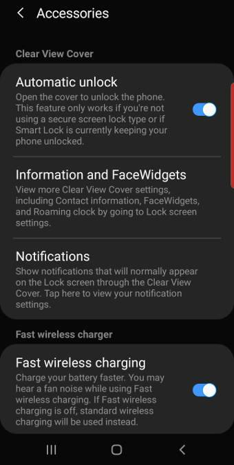 Galaxy S10 clear view cover settings