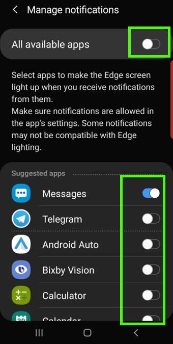 use and customize Galaxy S10 edge lighting