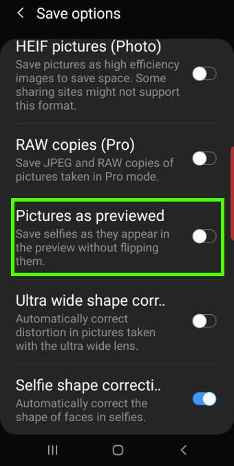 avoid the mirrored (flipped) photos from Galaxy S10 front camera
