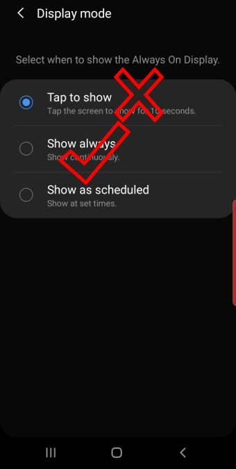 AOD show mode on Galaxy S10