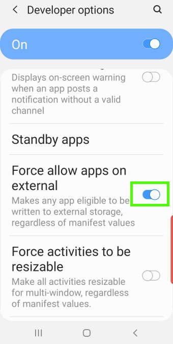 force allow apps on external storage