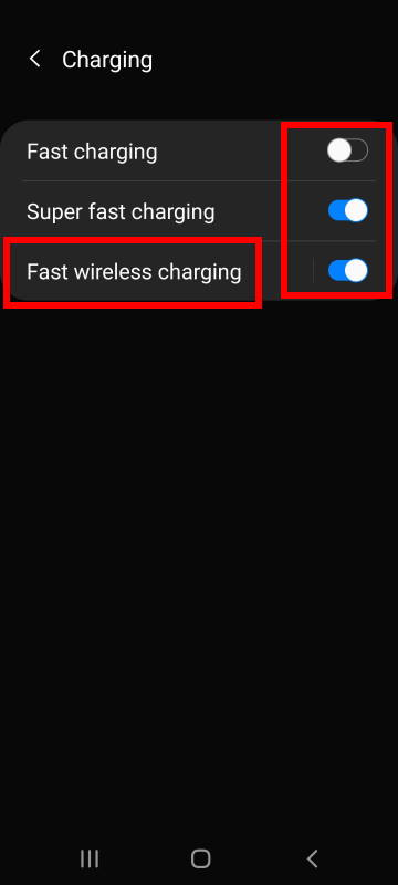charge galaxy S20 battery: disable fast charging, fast wireless charging and super-fast charging on Galaxy S20