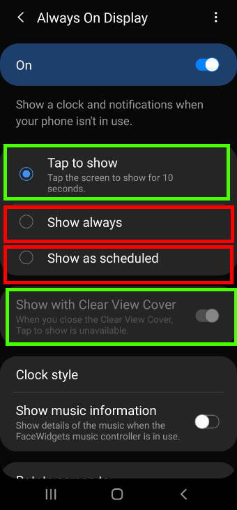 use the always-on display on Galaxy S20 Clear View Cover (S View cover)