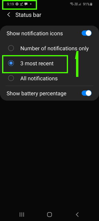 customize notification icon style in Galaxy S20 status bar: option 1