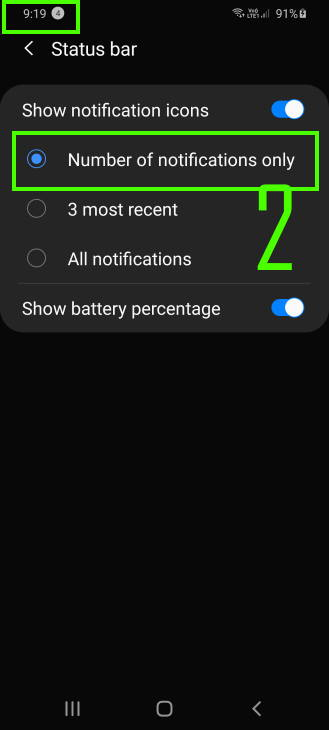 customize notification icon style in Galaxy S20 status bar: option 2