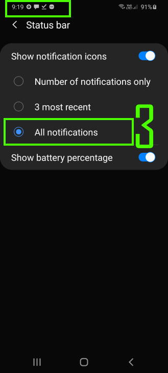 customize notification icon style in Galaxy S20 status bar: option 3