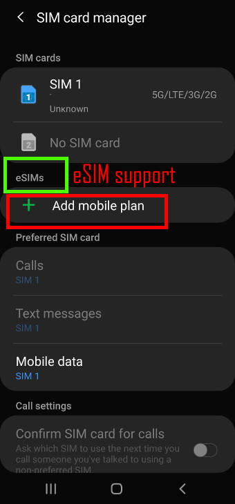 check eSIM on Galaxy S20 and eSIM support