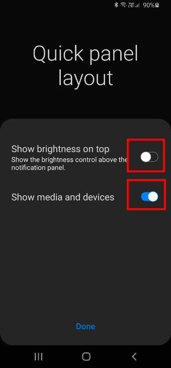 show brightness control on Galaxy S20 notification panel