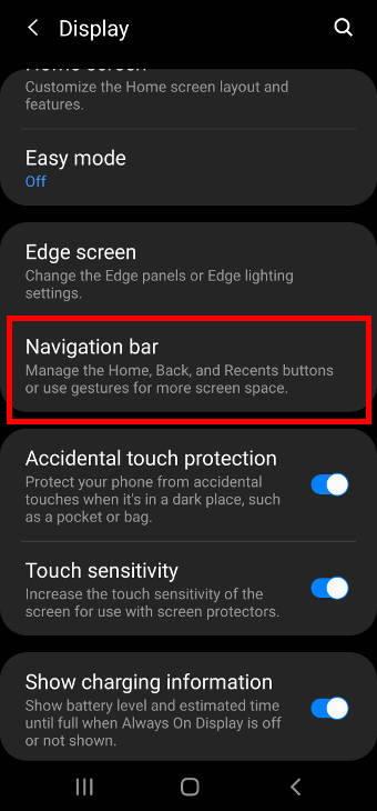 Galaxy S20 display settings