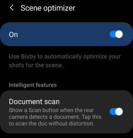 Galaxy S20 camera scene optimizer