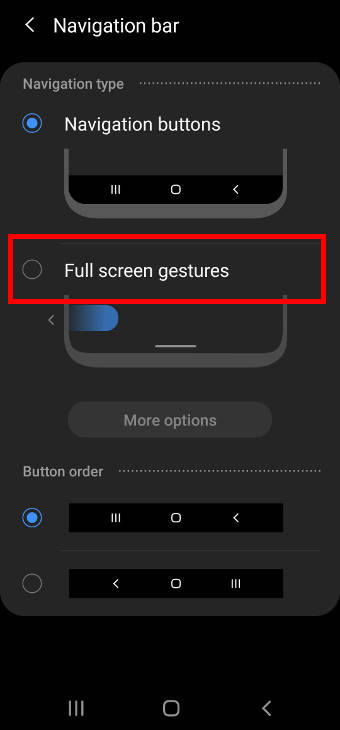 switch from navigation buttons to Galaxy S20 navigation gestures