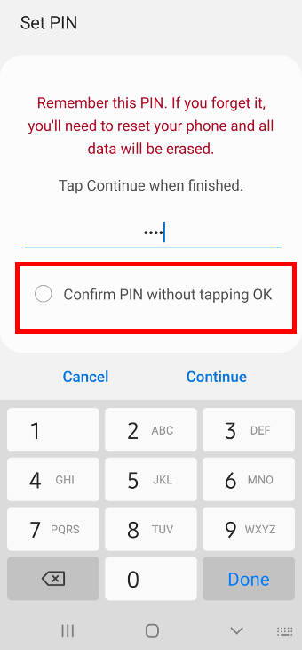enable or disable confirm PIN without tapping OK on Galaxy S20